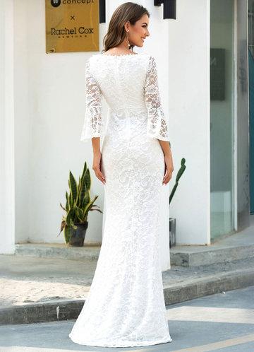 back_EVER-PRETTY Bell Sleeve Split Fishtail Hem Lace Overlay Dress