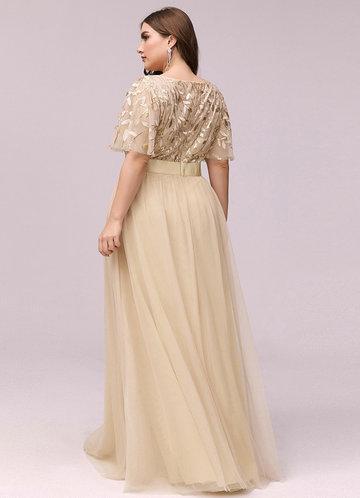 back_AZ Plus Size Leaf Sequin Bodice Mesh Prom Dress