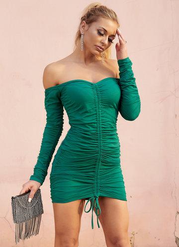 front_Joyfunear Off Shoulder Drawstring Ruched Bodycon Dress