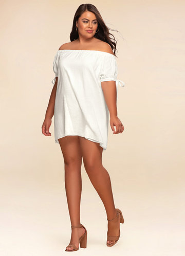 Aegean Sea Ivory Off-The-Shoulder Dress