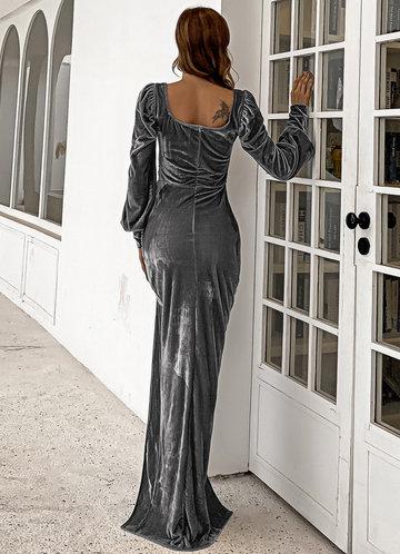 back_Missord Bishop Sleeve Belted Velvet Prom Dress