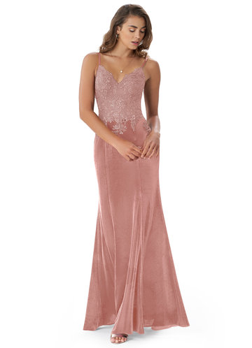 front_Azazie Sasha Velvet Dress