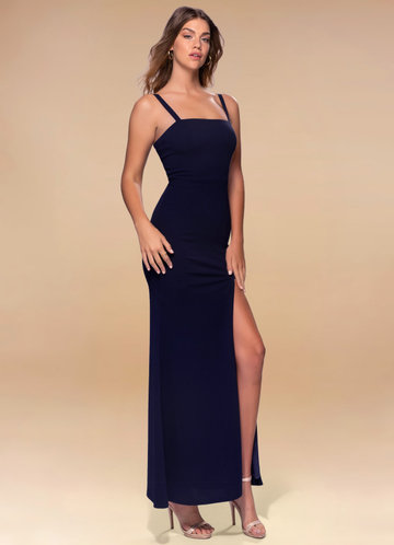 Luxury in Simplicity Dark Navy Stretch Crepe Maxi Dress
