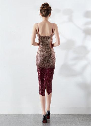 back_Kalinnu Gradual Color Sequin Midi Dress