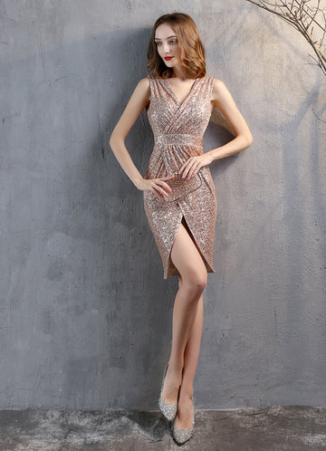 front_Kalinnu Sleeveless Wrap Sequin  Midi Dress