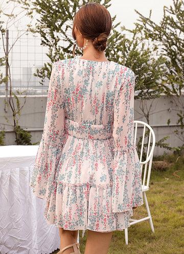 back_Missord Bell Sleeve Plunging Neck Ruffle Hem Floral Dress