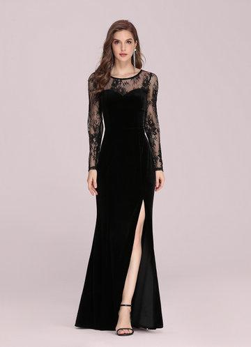 front_EVER-PRETTY Lace Yoke Split Thigh Velvet Prom Dress