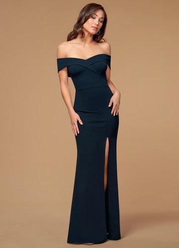 My Valentine Navy Blue Stretch Crepe Maxi Dress