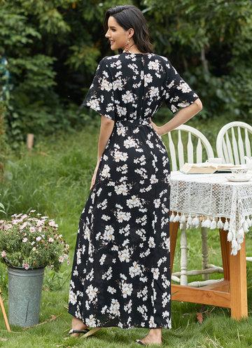 back_EVER-PRETTY Floral Split Thigh Belted Dress
