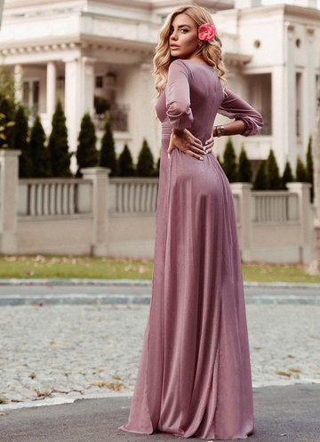 back_EVER-PRETTY Plunging Neck Split Hem Glitter  Dress