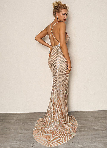 back_Joyfunear Crisscross Open Back Fishtail Metallic Sequin Dress