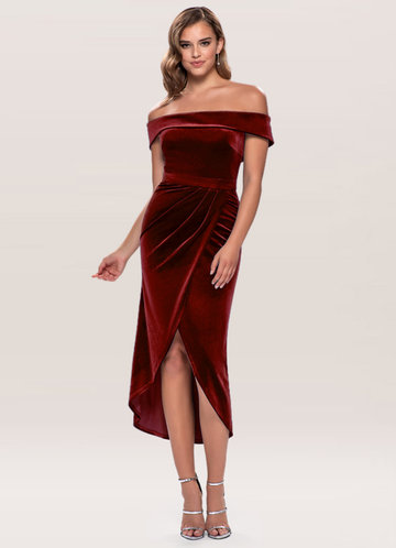 Sweet Desire Burgundy Velvet Midi Dress
