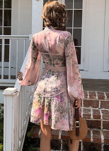 back_Missord Lantern Sleeve Mesh Panel Floral Dress