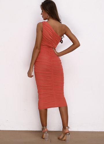 back_Joyfunear One Shoulder Ruched Mesh Bodycon Dress