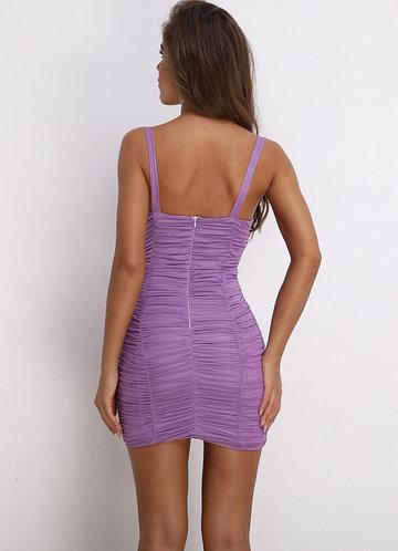 back_Joyfunear Ruched Glitter Bustier Cami Dress