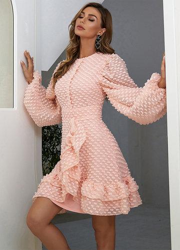 front_Missord Lantern Sleeve Tiered Layer Ruffle Hem Swiss Dot Dress