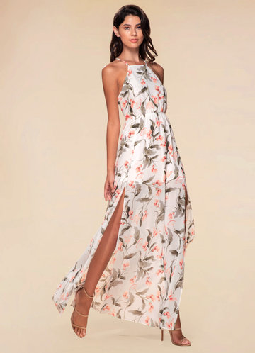 Hani White Floral Print Maxi Dress
