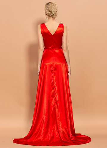 back_AZ V-neck Satin Prom Dress