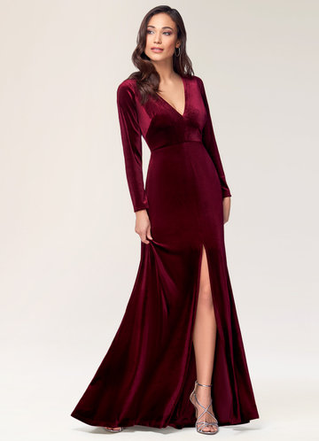 New Moon Burgundy Velvet Maxi Dress