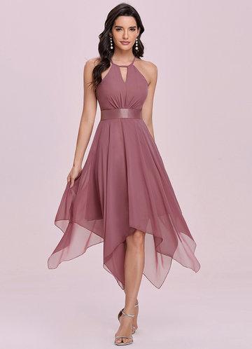 front_EVER-PRETTY Flowy Halter Neck Asymmetrical Midi Dress