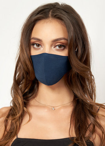 front_Non-medical Solid Color Cotton Reusable Face Mask Dark Navy