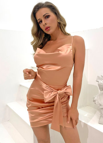 front_Joyfunear Cowl Neck Zip Back Ruched Satin Cami Dress