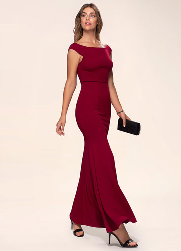 Cherish Burgundy Stretch Crepe Maxi Dress