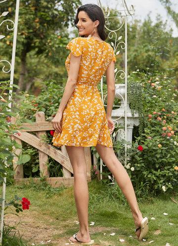 back_EVER-PRETTY Surplice Neck Belted Ruffle Hem Floral Dress