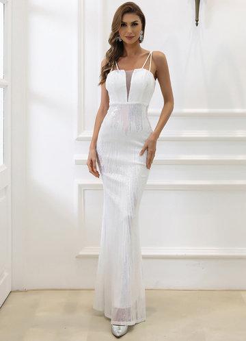 front_Missord Mesh Insert Sequin Mermaid Hem Dress