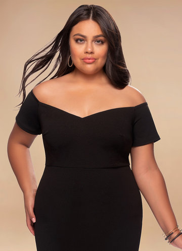 Love Story Black Stretch Crepe Maxi Dress