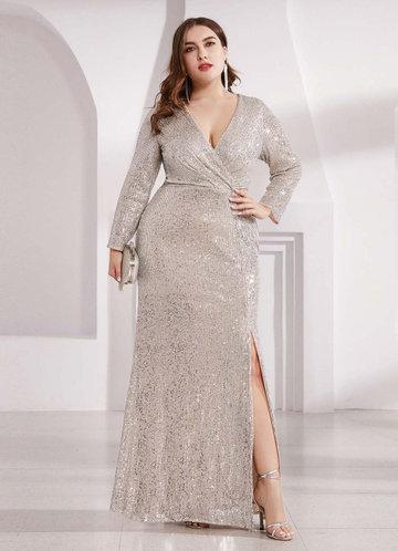 front_AZ V Neck Plus Size Long Sleeve Sequin Prom Dress