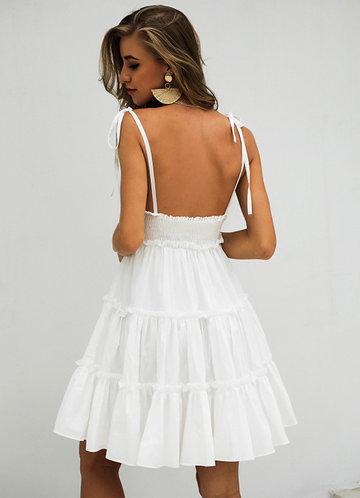 back_Missord Knot Straps Frill Trim Cami Dress