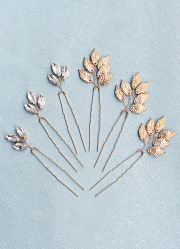 front_Dainty Leaf Hairpins Set