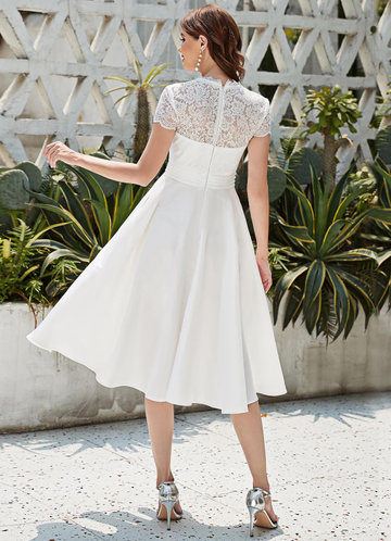 back_EVER-PRETTY Sheer Lace Yoke Pleated Waist Dress