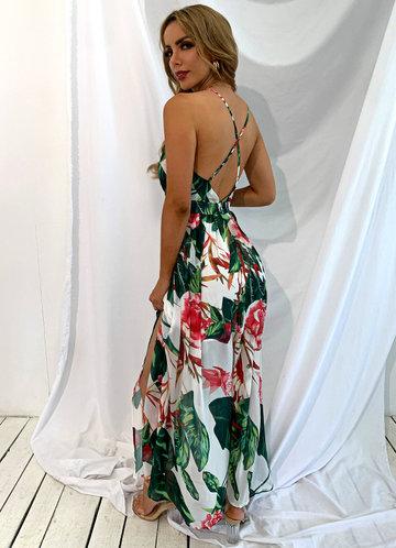 back_Joyfunear Crisscross Backless Floral Cami Dress