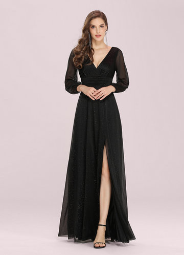 front_EVER-PRETTY Plunging Neck Split Hem Glitter  Dress