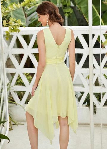 back_EVER-PRETTY Solid Asymmetrical Hem Dress