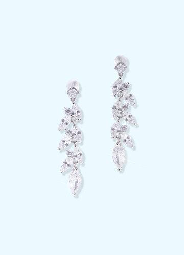 front_Laurel Leaf Cubic Zirconia Drop Earrings