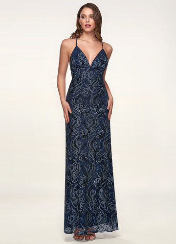 Memories Navy Blue Embroidery Maxi Dress