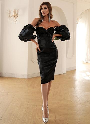 front_Missord Off Shoulder Lantern Sleeve Slit Hem Satin Dress