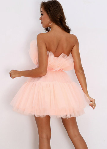 back_Joyfunear Bow Front Layered Tube Tulle Dress