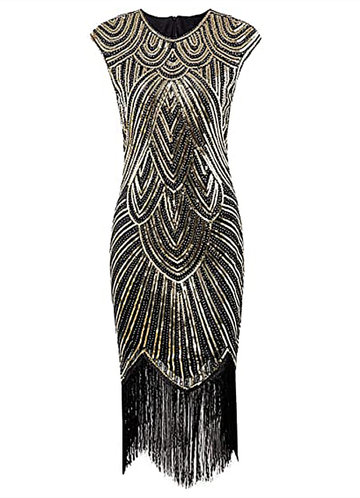 front_Blush Mark 1920s Sequin Beaded Tassels Hem Latin Dance Banquet Flapper Dress