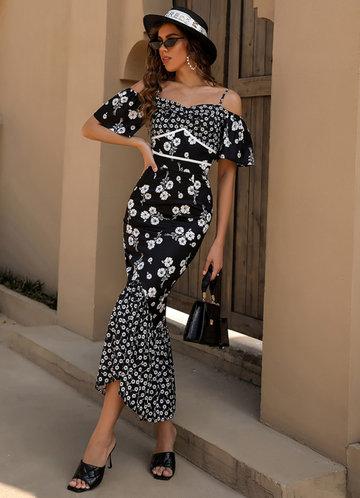 front_Missord Cold Shoulder Contrast Binding Floral Mermaid Hem Dress