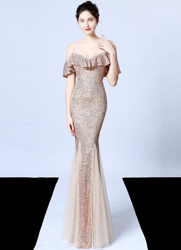 front_Kalinnu Ruffles Trim Sequin Mesh Maxi Dress