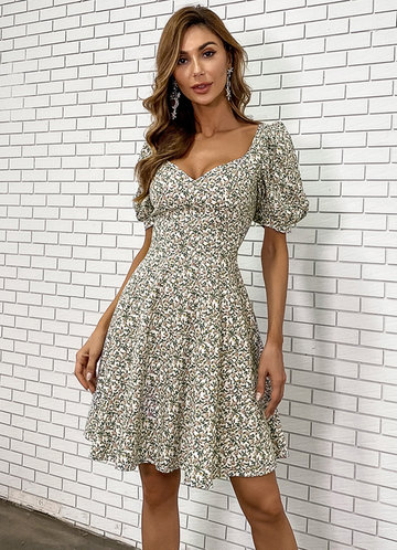 front_Missord Floral Puff Sleeve Dress