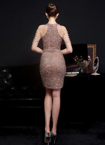 back_Kalinnu Shoulder Bead Trim Mini Sequin Dress