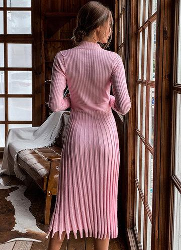 back_Missord Fringe Hem Rib-knit Sweater Dress