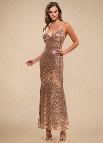 Glamorous Rose Gold Sequin Maxi Dress