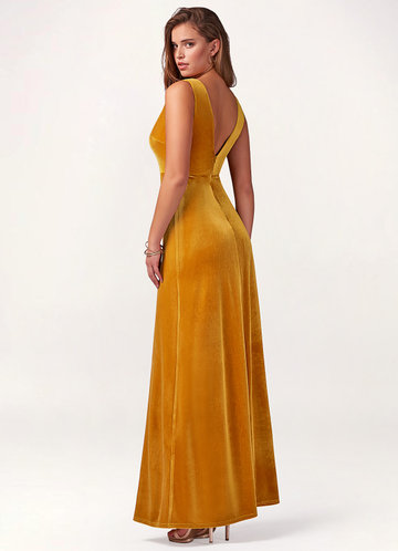 back_Blush Mark Party Time {Color} Velvet Maxi Dress