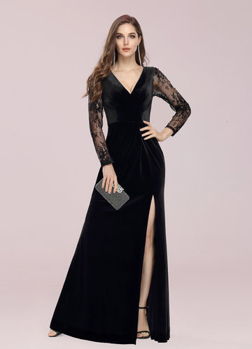 front_EVER-PRETTY Sheer Lace Sleeve Ruched Split Thigh Velvet Prom Dress